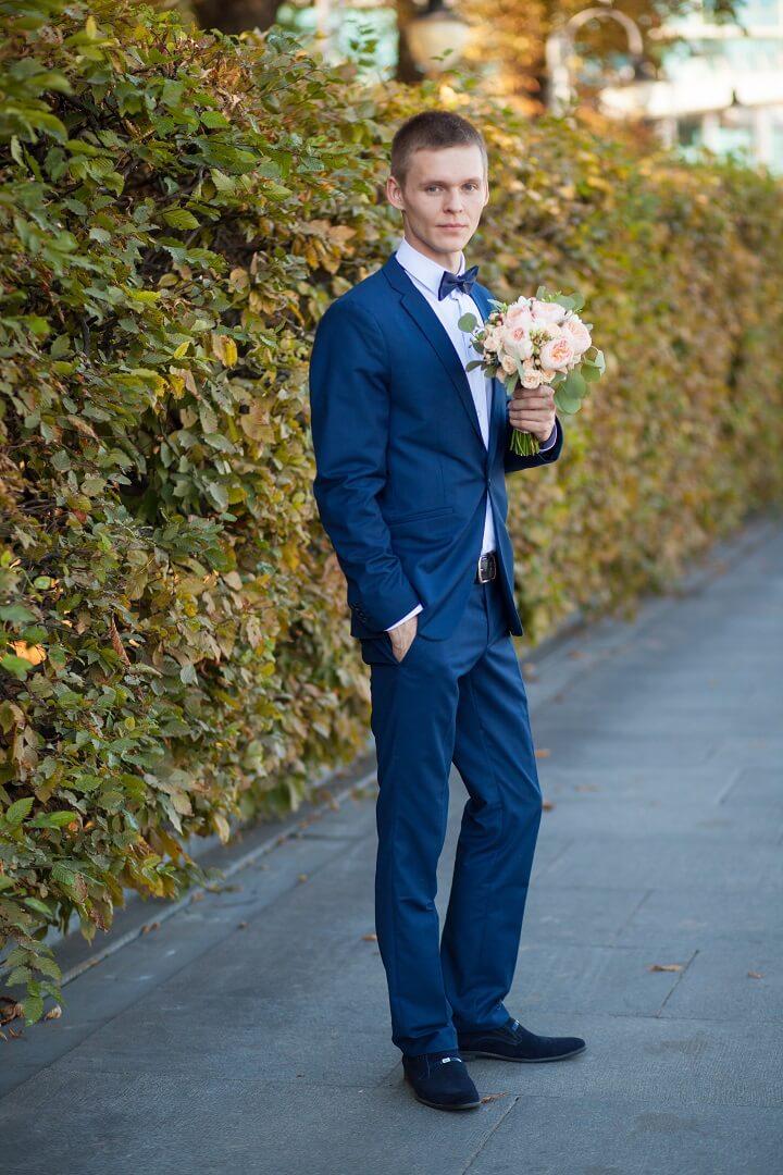 Свадебный синий костюм